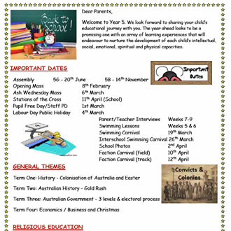 Year 5 Parent Information
