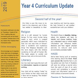 Year 4 Curriculum Update