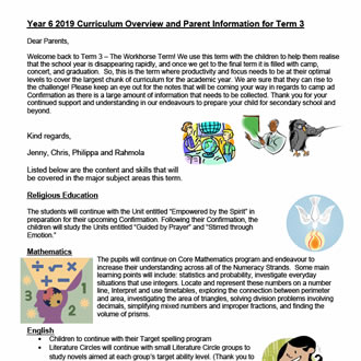 Year 6  Curriculum Update