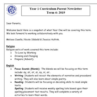 Year 1 Curriculum Update 2019 T4