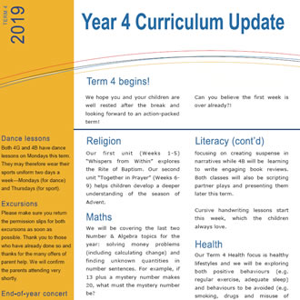 Year 4 Curriculum Update 2019 T4