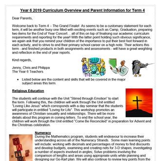 Year 6  Curriculum Update 2019 T4