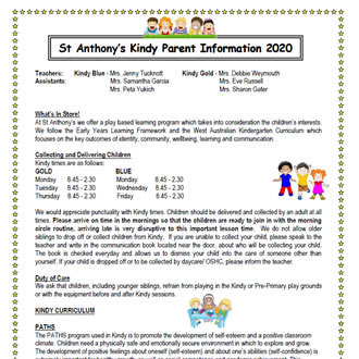 Kindergarten Parent Information