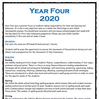 Year 4 Parent Information