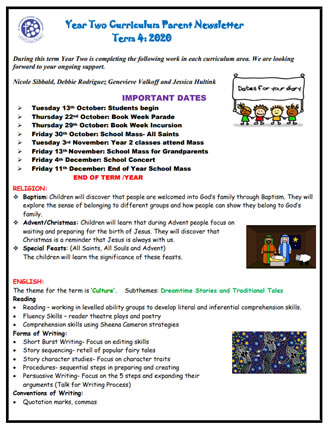 Year 2 2020 Curriculum Overview and Parent Information for Term 4