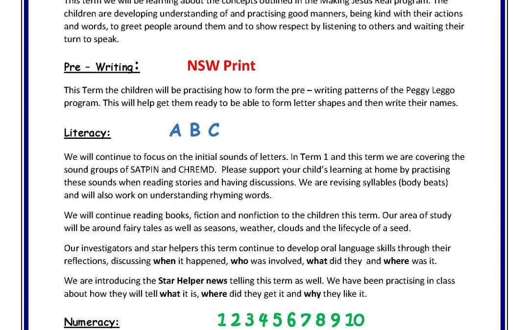 Kindy Curriculum Overview Term 2