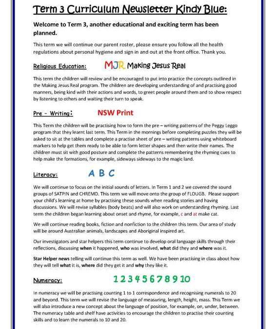 Kindy Curriculum Overview Term 3